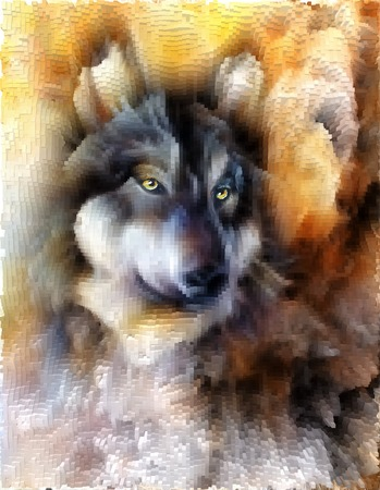 alsatian: alsatian dog, painting Abstract spots background, vintage variant with polygon