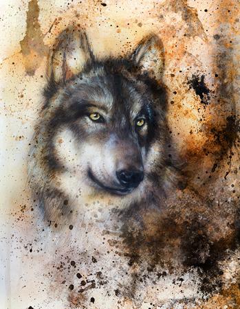 alsatian dog, painting Abstract spots background, vintage variant