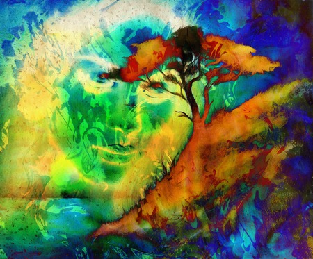 ink illustration: Goddess woman, with ornamental face and tree, and color abstract background. meditative closed eyes