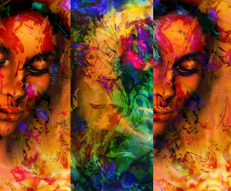 meditative: Goddess woman, with ornamental face, and color abstract background. meditative closed eyes