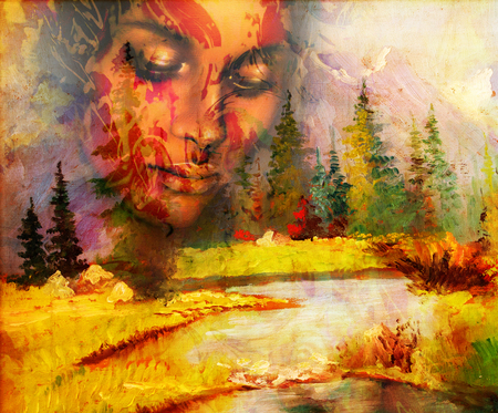 meditative: Goddess woman, with ornamental face and landscape with mountains lake and trees, and color abstract background. meditative closed eyes Stock Photo