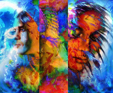 artwork painting: beautiful collage painting of an Indian man and young woman with feather headdress, and abstract color background.