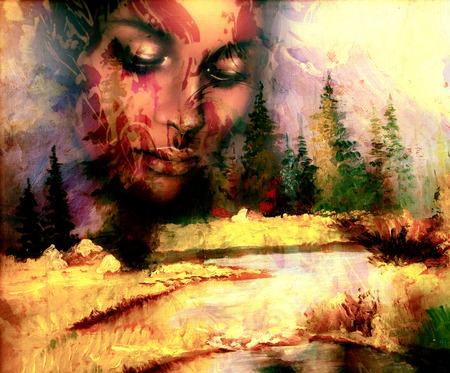 allegory painting: Goddess woman, with ornamental face and landscape with mountains lake and trees, and color abstract background. meditative closed eyes Stock Photo