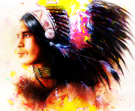 spirit medium: beautiful painting of a young indian warrior wearing a gorgeous feather headdress, profile portrait. computer collage