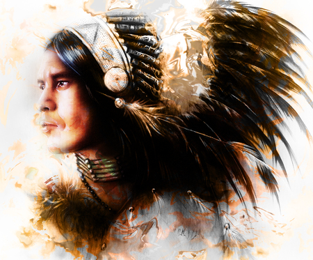 beautiful painting of a young indian warrior wearing a gorgeous feather headdress, profile portrait. computer collage