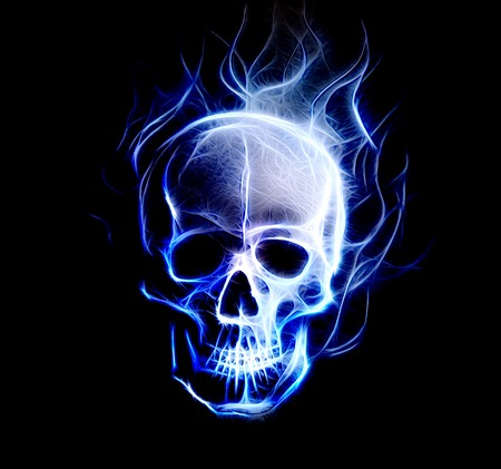 Skull. glass and fractal effect. Black  background, computer collage Stock Photo