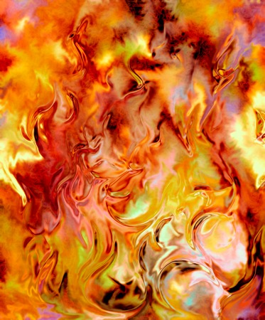 abstract fire: Fire flames background, LAVA structure. Computer collage. Earth Concept Stock Photo
