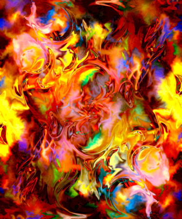 erupt: Fire flames background, LAVA structure. Computer collage. Earth Concept Stock Photo