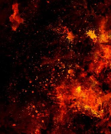 Vuur vlammen achtergrond met woestijn craquelé, LAVA structuur. Computer collage. Aarde Concept