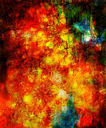 awakening: oriental ornamental mandala and color abstract background with fire flame, LAVA structure. Earth Concept, Red, orange, black color