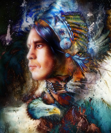 american native: painting young indian warrior wearing a gorgeous feather headdress, and eagle with tiger. profile portrait, abstract color background
