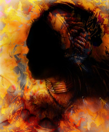 visionary: indian warrior wearing a gorgeous feather headdress, profile portrait with shadow dark face, orange, yellow and black color.