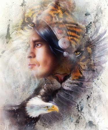 safari animals: tiger with eagle and indian warrior and headdress illustration. wildlife animals on painting background, Eye contact, White, black and brown color.