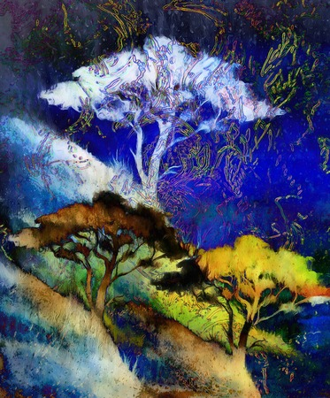 flower fields: Painting tree, wallpaper landscape, color collage. and abstract grunge background with spots Stock Photo