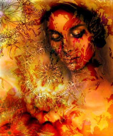 meditative: Beautiful Painting Goddess Woman with ornamental mandala and color abstract background  and fire structure. meditative closed eyes. Brown, orange, yellow color