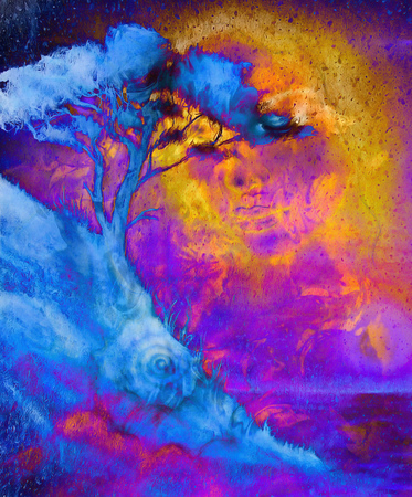 meditative: Goddess woman, with ornamental face and tree, and color abstract background. meditative closed eyes. Blue, black, yellow and violet color Stock Photo