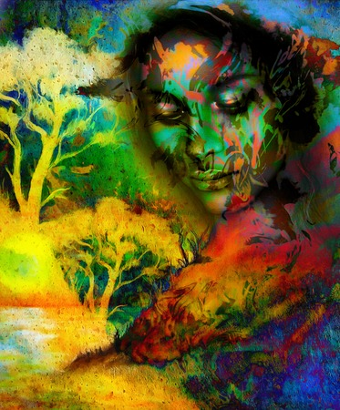nature woman: Goddess woman, with ornamental face and tree, and color abstract background. meditative closed eyes,  computer collage Stock Photo