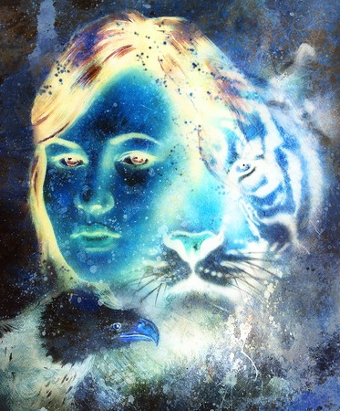 mamal: painting of a tiger and eagle head and woman goddess  portrait on colored abstract background, computer collage. Blue, black and white color