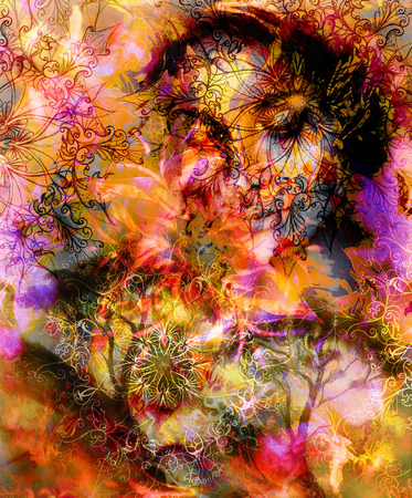 nature woman: Beautiful Painting Goddess Woman with ornamental mandala and color abstract background  and Tree, black, yellow and red color