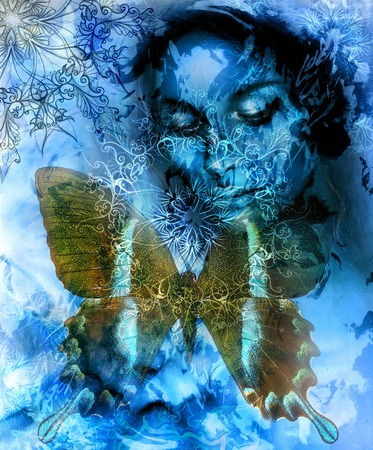 meditative: Beautiful Painting Goddess Woman with ornamental mandala and butterfly  and color abstract background  and fire structure. meditative closed eyes. Blue, black and white color Stock Photo