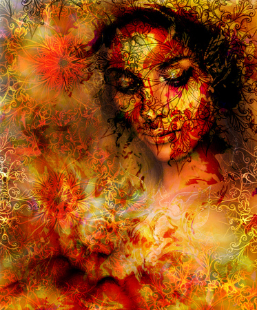 nature woman: Beautiful Painting Goddess Woman with ornamental mandala and color abstract background  and Tree. Red, orange, yellow color. Brown, orange, yellow color