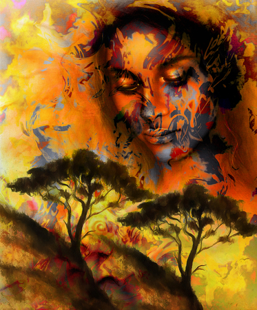 green face: Goddess woman, with ornamental face and tree, and color abstract background. meditative closed eyes. Brown, orange, yellow color