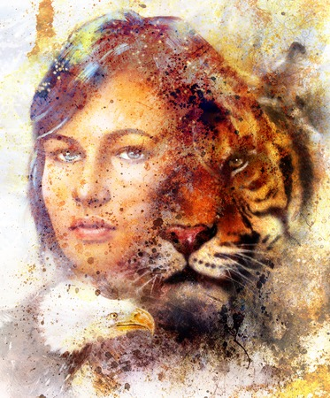 mamal: painting of a tiger and eagle head and woman goddess  portrait on colored abstract background, computer collage, vintage effect. Brown, orange, yellow, black and white color Stock Photo