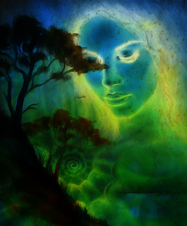 beautiful eyes: Goddess woman, with ornamental face and tree, and color abstract background. meditative closed eyes,  computer collage Stock Photo