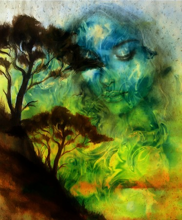 Goddess woman, with ornamental face and tree, and color abstract background. meditative closed eyes,  computer collage Standard-Bild