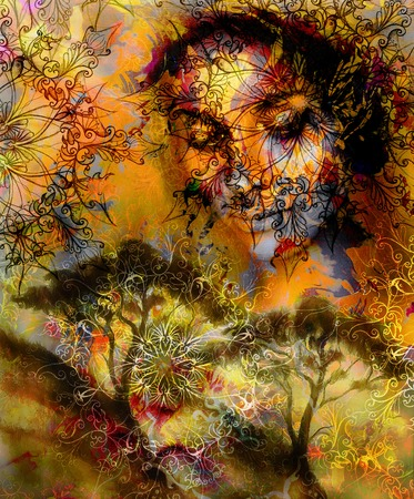 nature woman: Beautiful Painting Goddess Woman with ornamental mandala and color abstract background  and Tree Stock Photo