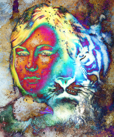 mamal: painting of a tiger and eagle head and woman goddess  portrait on colored abstract background, computer collage