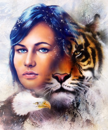 mamal: painting of a tiger and eagle head and woman goddess  portrait on colored abstract background, computer collage. Brown, orange, yellow, black and white color