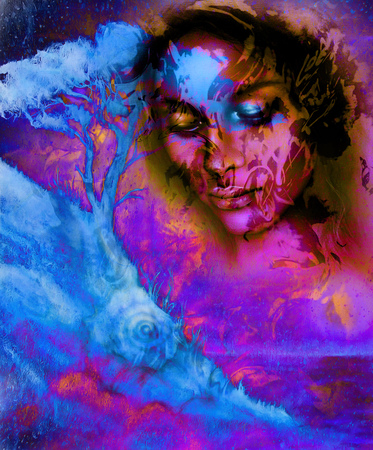 meditative: Goddess woman, with ornamental face and tree, and color abstract background. meditative closed eyes,  computer collage . Pink, violet, blue, and black color Stock Photo