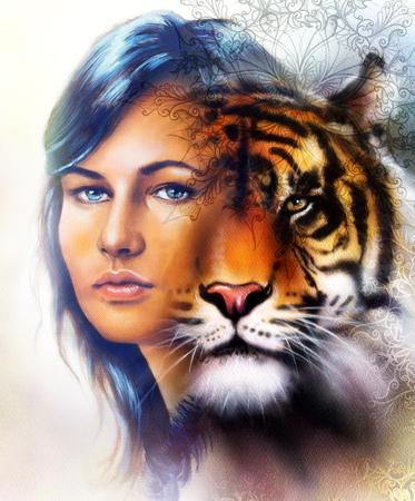 painting of a bright mighty tiger head on ornamental background and mystic woman face, computer collage. Brown, orange, yellow, black and white color Standard-Bild