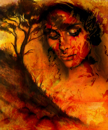 meditative: Goddess woman, with ornamental face and tree, and color abstract background. meditative closed eyes,  computer collage. Red, orange, black color