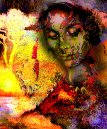meditative: Goddess woman, with ornamental face and tree, and color abstract background. meditative closed eyes,  computer collage. Red, orange, yellow color Stock Photo