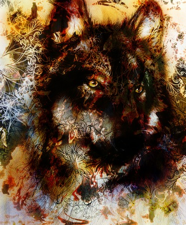 royal safari: Wolf painting, color  background on paper , multicolor illustration. and ornamental mandala, computer collage. Brown, orange, black and white color
