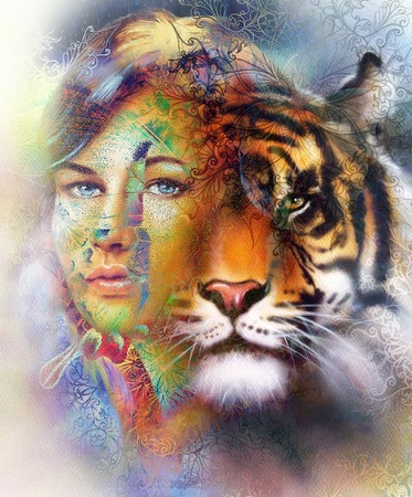 strenght: painting of a bright mighty tiger head on ornamental background and mystic woman face, computer collage Stock Photo