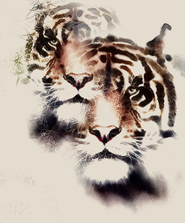 marvel: painting of a bright mighty tiger head on ornamental background. computer collage. vintage variant