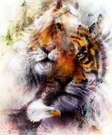 portrait tiger with eagle.  Color Abstract background and ornament, vintage and paper structure. Animal concept, eye contact. Brown, orange, black and white color Stock Photo