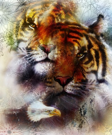 marvel: beautiful painting of eagle and tiger on an color abstract background with ornamental pattern, with spot structures. Brown, orange, black and white color