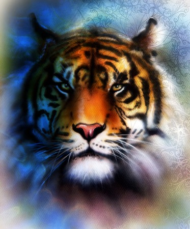 marvel: tiger collage on color abstract  background and mandala with ornamet , wildlife animals. Blue, orange, black and white color