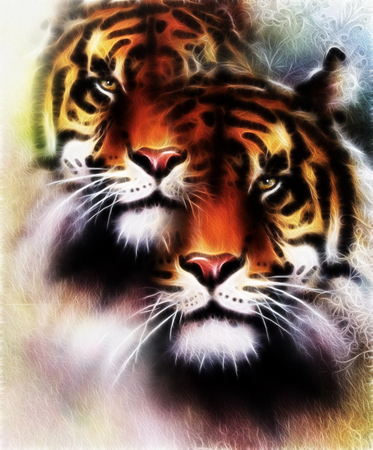 marvel: tiger collage on color abstract  background and mandala with ornamet , wildlife animals. Brown, orange, black and white color Stock Photo