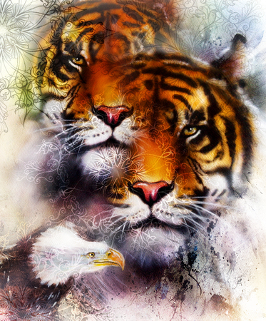 marvelous: tiger with eagle and ornamental mandala. wildlife animals on painting background, Eye contact. Brown, orange, black and white color Stock Photo
