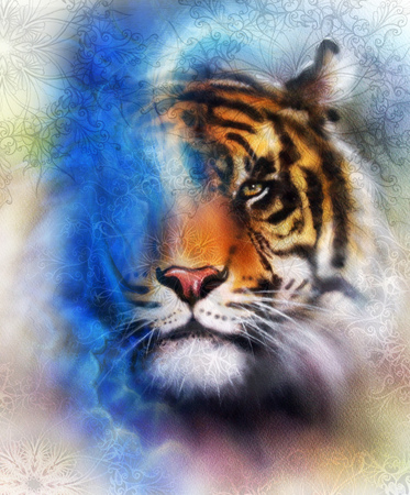 marvel: tiger collage on color abstract background and mandala with ornament, painting wildlife animals. Blue, orange, black and white color