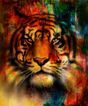 black and white panther: beautiful painting of eagle and butterfly  on an abstract background, color with spot structures. Blue, orange, green, red, black color