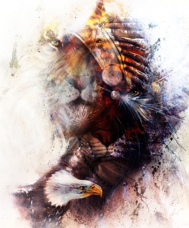 indian headdress: tiger with eagle and indian headdress illustration. wildlife animals on painting background