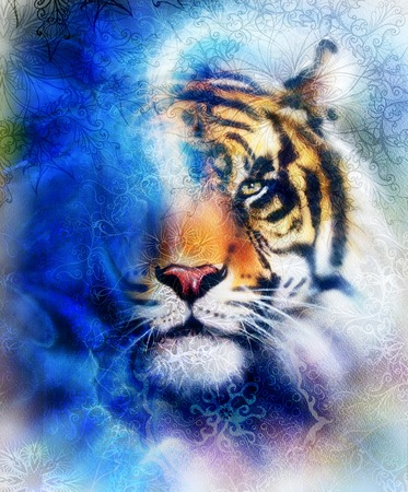 marvel: tiger collage on color abstract background and mandala with ornament, painting wildlife animals Stock Photo