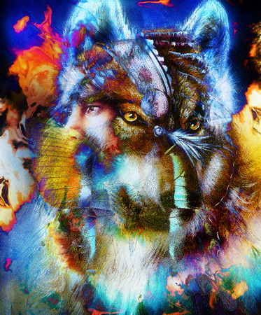 A beautiful airbrush painting of an young indian warrior accompanied with wolf, computer collage Stock Photo