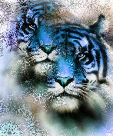 animales safari: Collage de tigre en el fondo de color abstracto y mandala con el ornamento, pintura animales de la fauna